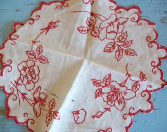 very old little round scalloped hanky