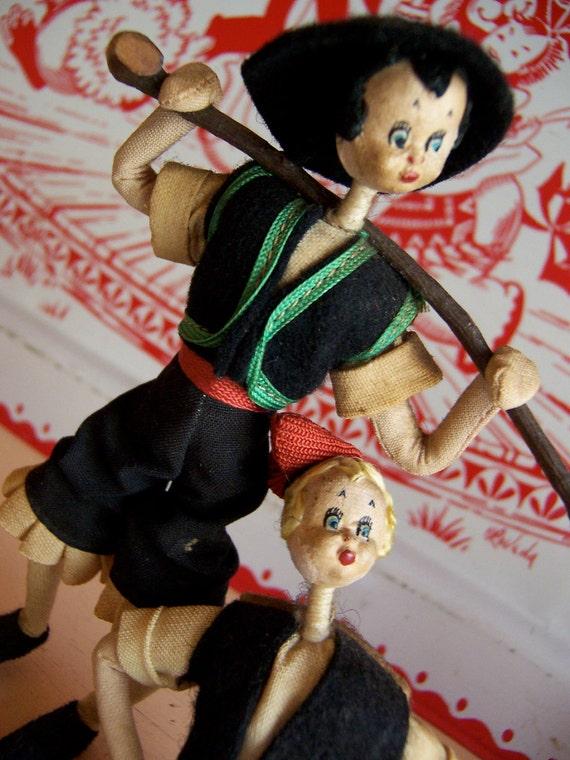 two wonderful wire and felt fabric dolls
