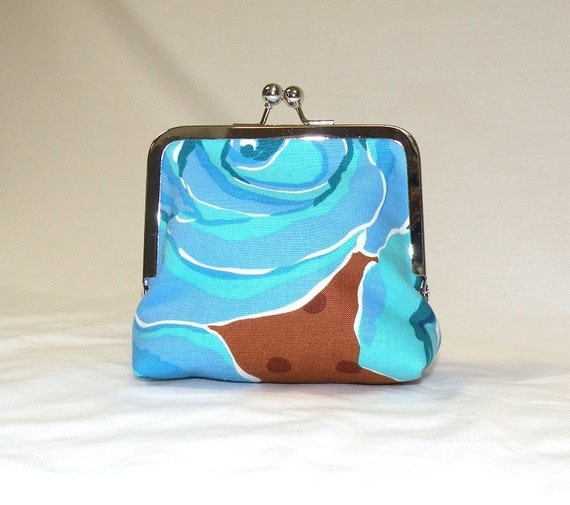 Cotton Rose Palm Clutch in blues, turquoise, and brown
