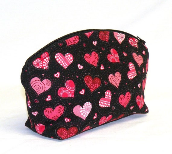 Be My Valentine  XL make-up/cosmetic bag in fun novelty heart print on black