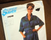 Simplicity 7618 Shirt Dress Pattern Uncut 1986