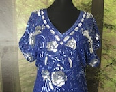 Vintage 80s SOLID Beaded FLORAL Design SilK Mini Electric Blue PARTY Cocktail Dress