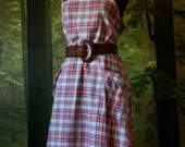Plaid  Plaid  Plaid  VIntage Jumper Dress with Button Pockets & Strap Details