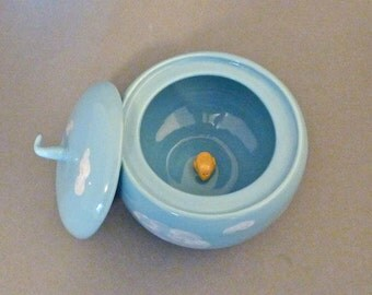 Blue lidded cloud container with bird surprise