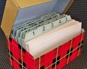"Cute Little Tartan Plaid Metal Recipe or Index Card File Box ""Clad in 1960's Red Plaid"""