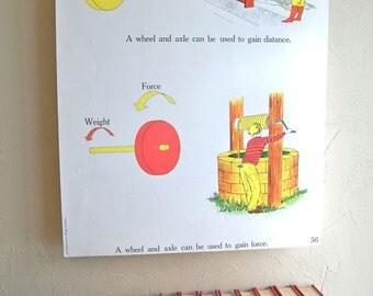 "1963 Elementary School Science Chart - 18 X 24 Poster - Lesson on Machines - ""Fun Retro Art"""