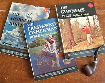 Mid-1960's Sportsman Bible 3 Book Set - Fresh Water Fisherman's, The Gunner's and The Horseman's Bible
