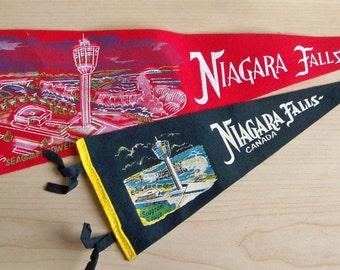 2 - 1960's Niagara Falls Canada Souvenir Pennants