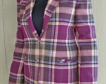 1980's Preppy Plum and Green Plaid Deer Stag Blazer - Women's Size 8