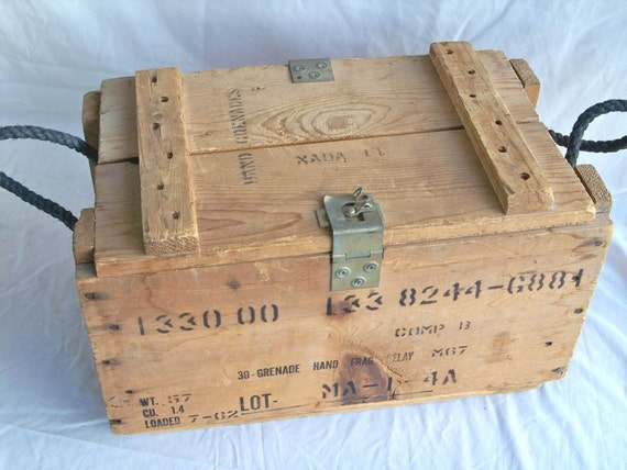 Vintage U.S. Military Wooden Hand Grenade Crate - Box - Great for Firewood Storage