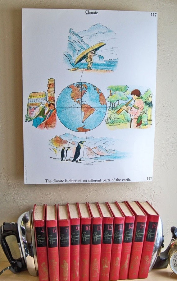 1963 Elementary School Science Chart - 18 x 24 Poster with Climate and Seasons Theme