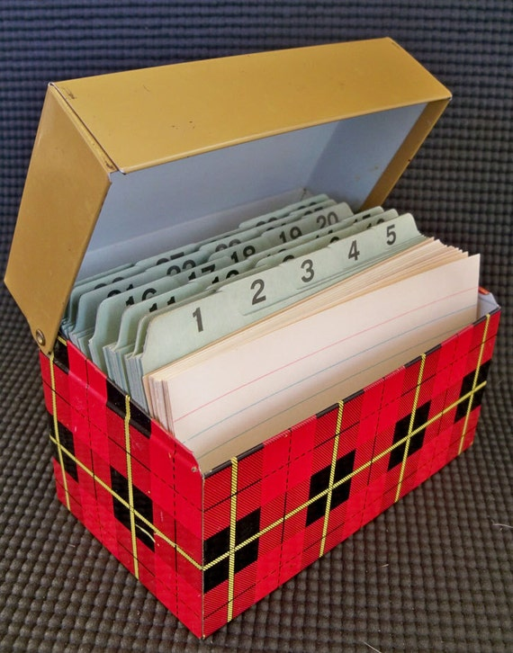 "Cute Little Tartan Plaid Metal Recipe or Index Card File Box ""Clad in 1960's Red Plaid"""