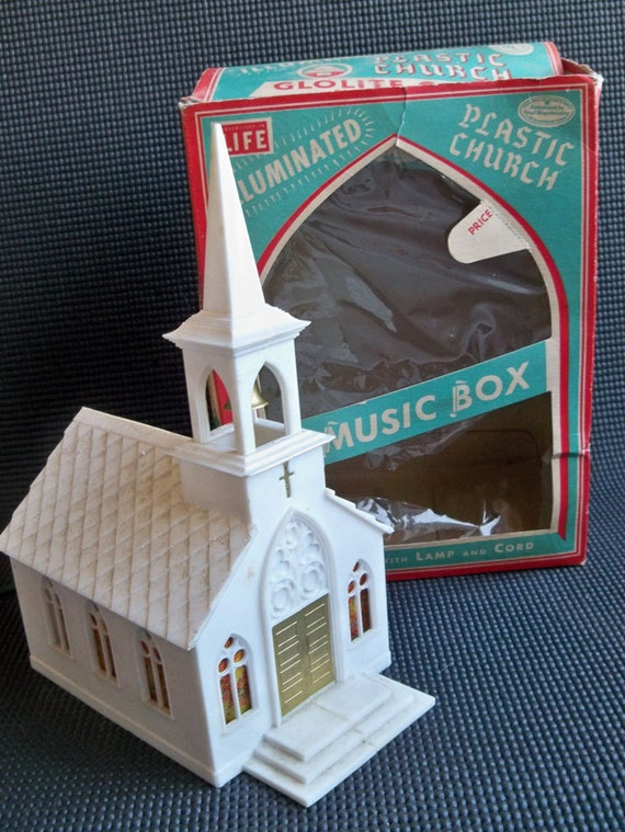 Vintage Glolite Musical Illuminated Plastic Church