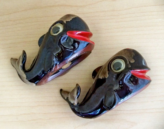 "Cute Vintage Whale Salt and Pepper Shakers - ""A Whale of a Deal"""
