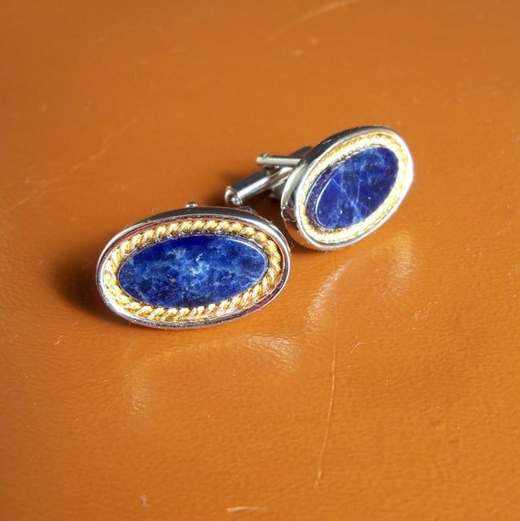 Silver-tone and Dark Blue Marble Cuff Links with Elegant Gold-tone Braiding