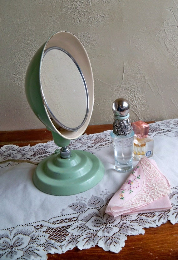 "1940's Jadeite Green Make-up - Vanity Mirror ""Nice Addition to Your Retro Bath/Bedroom Decor"""