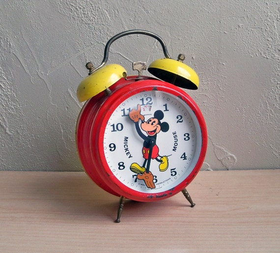 """1950's Mickey Mouse Wind-up Alarm Clock """"Made in Germany"""""""