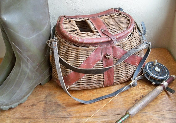 "Vintage Wicker Fishing Creel with Leather Trim ""Nicely Distressed"""