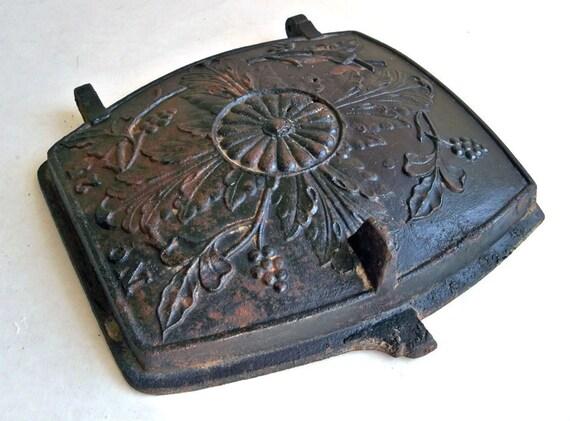 Antique Rustic Distressed Cast Iron Stove Door Nice