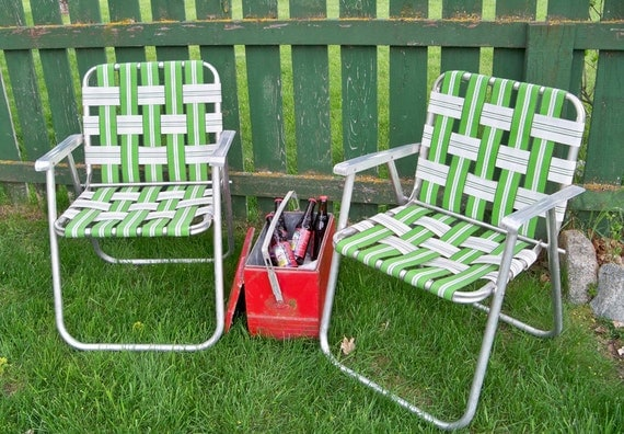 """A Pair of Vintage Green & White Webbed Lawn Chairs """"Ready for Summer Fun"""""""