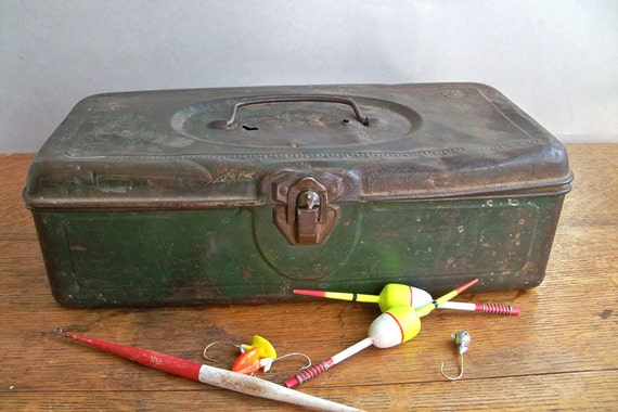 """Mid-Century Distressed Green Metal Tackle Box """"There's a Story in Every Ding"""""""