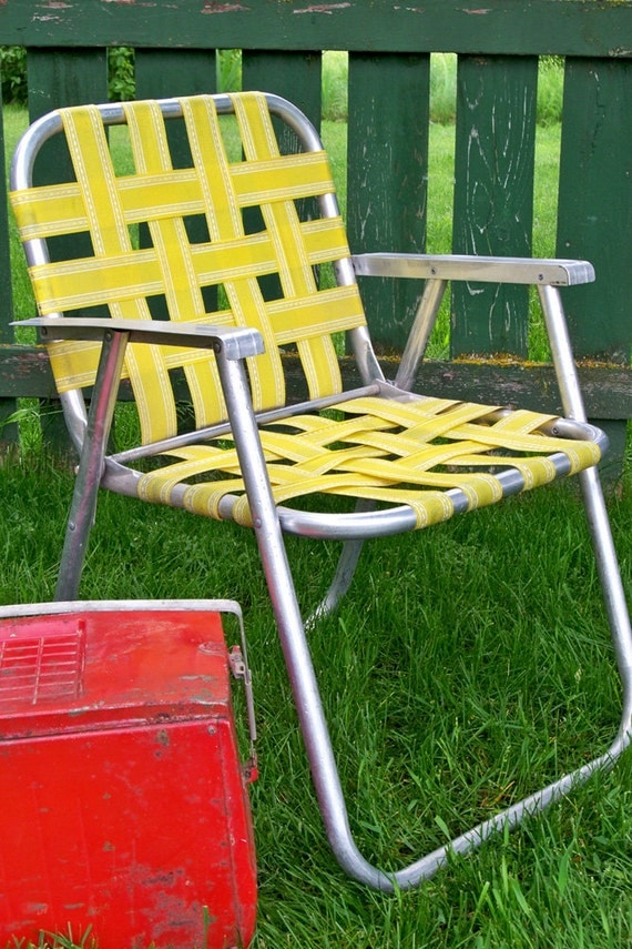 Vintage Yellow Webbed Lawn Chair Ready For Summer