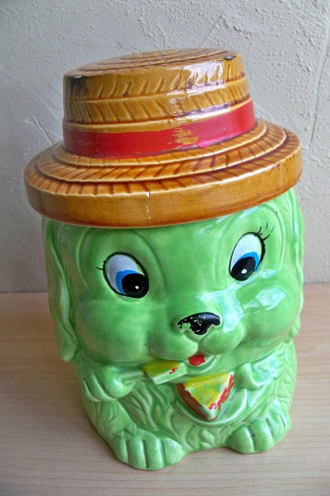 Vintage Japanese Made Ceramic Dog Cookie Jar Cute Lime Green
