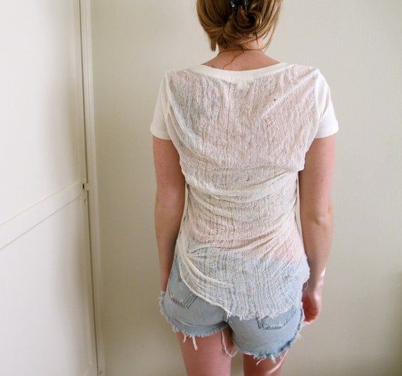 Shredded shirt back tee see through crop top ripped by for Shirts with see through backs