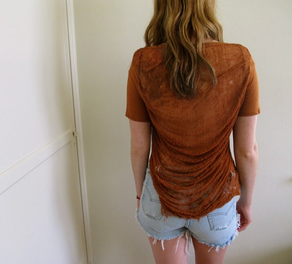 Brown shredded back shirt crop top tunic for Shirts with see through backs