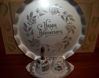 Vintage 25th Anniversary Tray, Bells and Dish