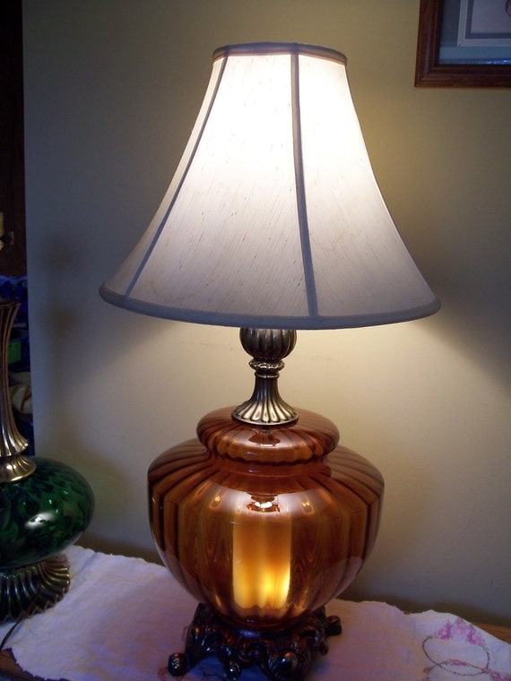On Sale Large Amber Table Lamp