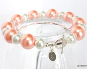 Breast Cancer Awareness - White and Pink Pearl Sterling Silver Bracelet - FREE SHIPPING