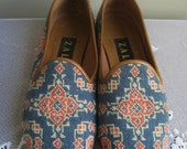 NEEDLEPOINT Vintage Shoes TAPESTRY Embroidered Flats Slip On Loafers ZALO 6.5