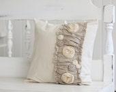 creamy linen rosette pillow slipcover