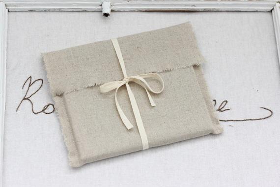 CD packaging - 10 linen fabric envelopes - natural linen CD envelopes