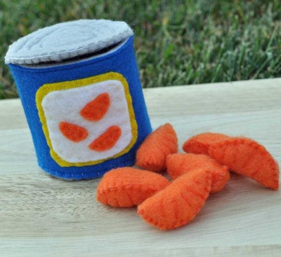 Felt Food Canned Mandarin Oranges 7 Piece Interactive Set Reserved for Jodi