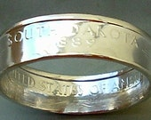 2006 Silver South Dakota State Quarter Coin Ring in a size 8