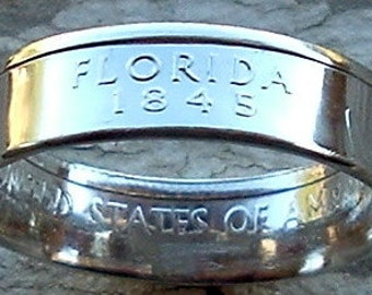 2004 Florida State Quarter Coin Ring (90% Silver) (Available in sizes 4 through 10)