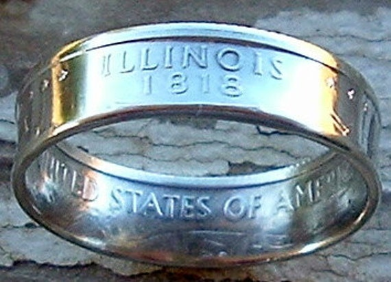 2003 Silver Illinois State Quarter Coin Ring in a size 8