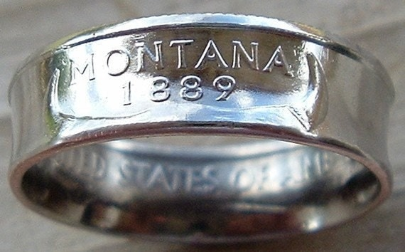 2007 Silver Montana State Quarter Coin Ring in a size 7 1/2  (Reserved for Brian Trexell)