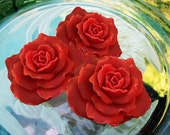Red Soap Roses, Cranberry Fig Scent, 3-Piece Set Mothers Day