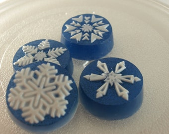 4 Blue Snow Flakes gift boxed Scented in Hollyberry