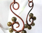 Demeter Whirls - labradorite and copper earrings