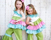 Toddler Girl Swing Top and Ruffle Pants 2pc Set perfect for, Birthday Party, Pictures, or Photography Prop