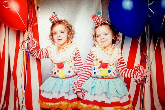 Custom Carnival Circus Clown Toddler Girl Birthday Dress, Top and Ruffle Pants Set