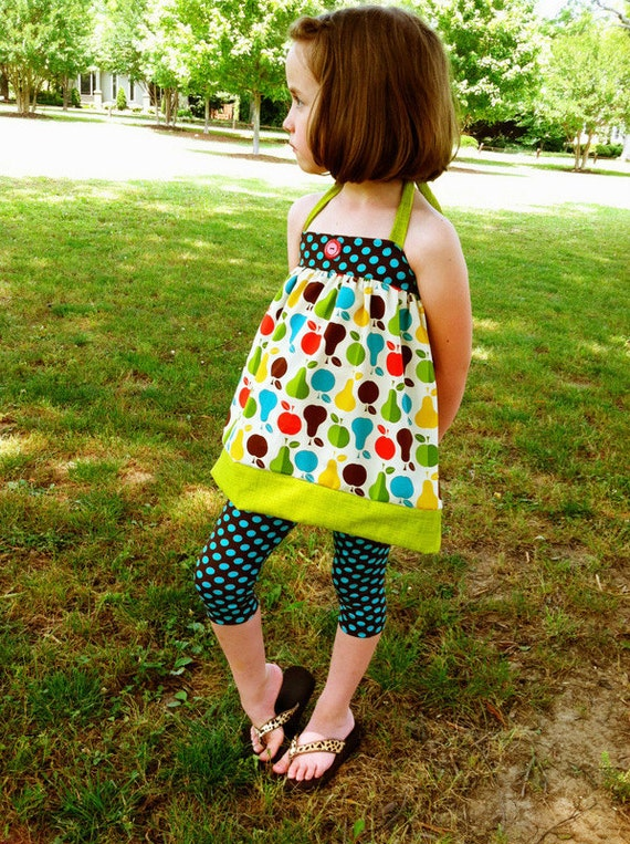 Toddler Girl Michael Miller Knit Leggings and Summer Fruit Halter Top 2pc set