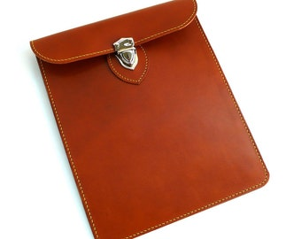 Hand stitched Sleeve Case for iPad Pro, iPad Air, iPad Mini, Tablets in TAN Vegetable Tanned Leather