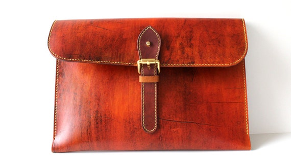 """Hand-Stitched Macbook air / Macbook Pro leather sleeve (11"""") with Free Monogramming"""