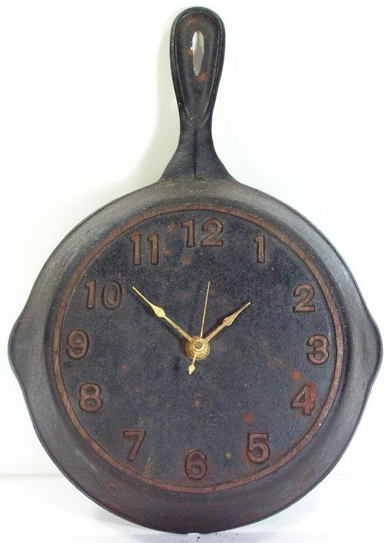 Cast Iron Skillet Clock Vintage Black Antique Kitchen Cooking