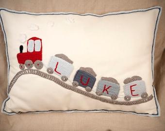Personalised Train Handmade Cushion , Baby Gift, Baby Room